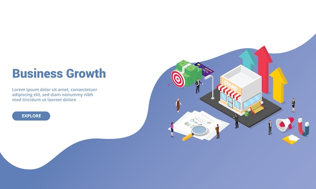 Concept de démarrage de croissance d'entreprise pour la page d'accueil de modèle de site web ou une bannière avec style isométrique