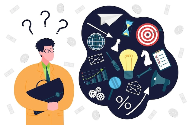 Concept de démarrage d'entreprise. un homme d'affaires novice est perdu, planifie et réfléchit à la manière de démarrer une entreprise et de rassembler tous ses éléments. organisation de l'activité entrepreneuriale au stade initial.