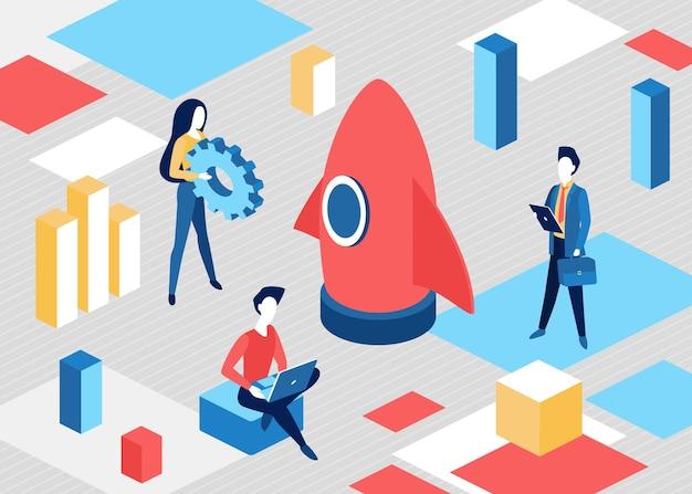 Concept de démarrage d'entreprise isométrique, processus de démarrage de projet