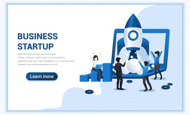 Concept de démarrage d'entreprise avec des personnes travaillant sur le lancement de fusée.