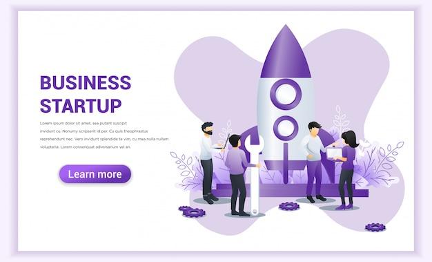 Concept de démarrage d'entreprise avec des personnes travaillant près d'une fusée prête à se lancer