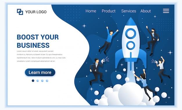 Concept de démarrage d'entreprise avec des personnes volant avec un lancement de fusée dans l'espace.