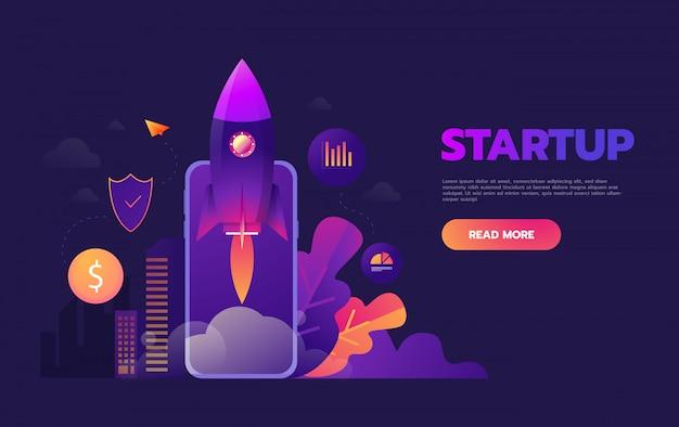 Concept de démarrage d'entreprise pour le développement d'applications mobiles ou d'autres idées commerciales numériques perturbatrices, lancement d'une fusée de dessin animé à partir d'une tablette de téléphone intelligent