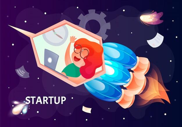 Concept de démarrage d'entreprise pour les réseaux sociaux web.