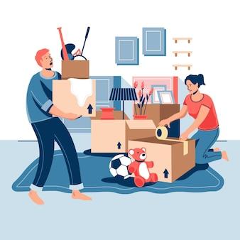 Concept de déménagement de maison design plat