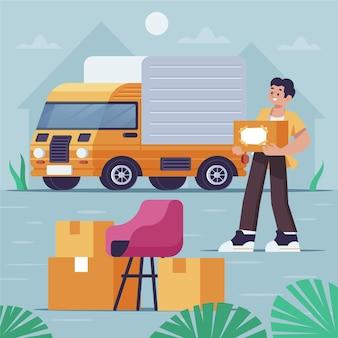 Concept de déménagement de maison avec homme