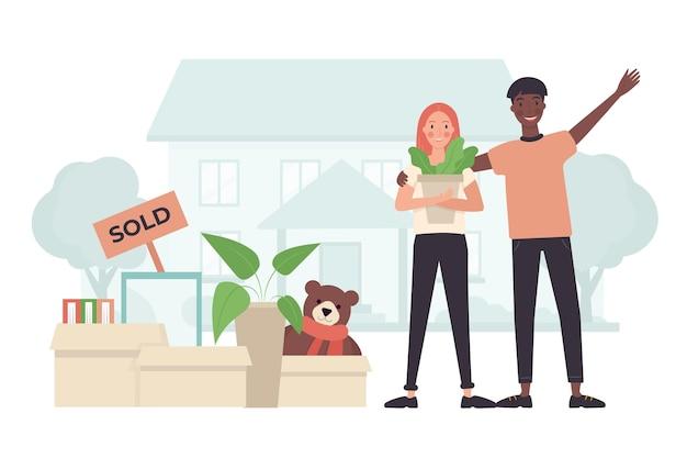 Concept de déménagement de maison illustré