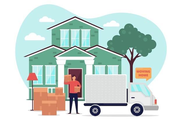 Concept de déménagement de maison