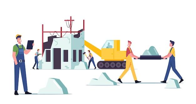 Concept de démolition de bâtiments. constructeurs personnages masculins en uniforme et machinerie lourde démolissant la vieille maison, frappant les murs avec un marteau et une perceuse, enlevez les ruines. illustration vectorielle de gens de dessin animé