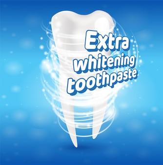 Concept de dents saines de dentifrice blanchissant supplémentaire