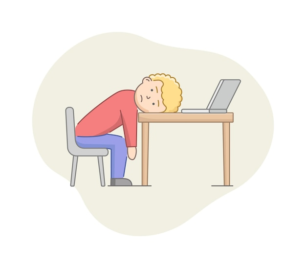 Concept de dépression. le personnage masculin souffre de dépression. burned out fatigué de work man allongé sur un bureau dans le bureau. état d'émotions stressées.