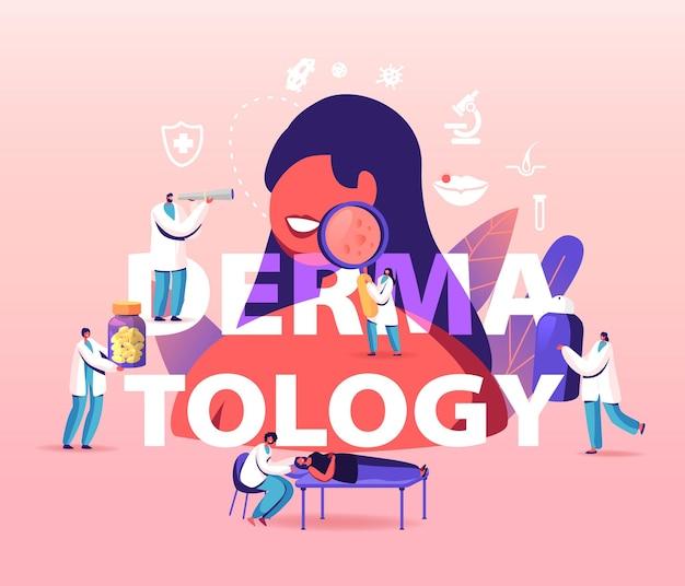 Concept de dermatologie. personnages minuscules de médecins autour d'une énorme femme avec des problèmes de peau. illustration de dessin animé