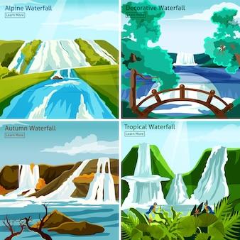 Concept de design 2x2 paysages de cascade
