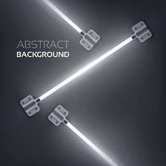 Concept de design abstrait avec des tubes de néon fixés par des plaques métalliques