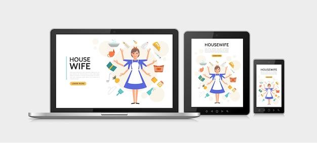 Concept de design adaptatif femme au foyer plat