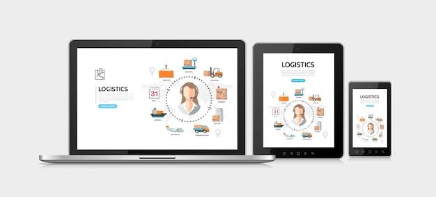 Concept de design adaptatif de service de livraison à plat