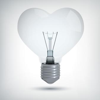 Concept de design ampoule réaliste en forme de coeur sur gris isolé