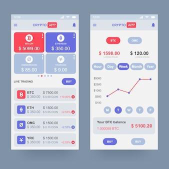 Concept de design d'application de crypto-monnaie