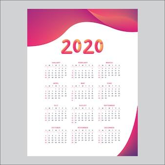 Concept de design de calendrier 2020