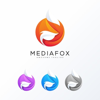 Concept de design coloré abstrait fox
