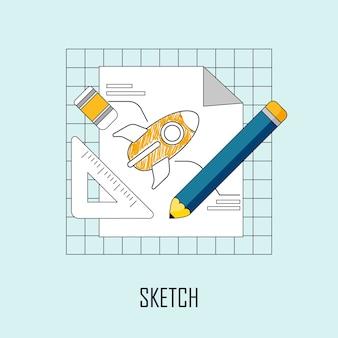 Concept de design : le croquis de fusée dans le style de ligne