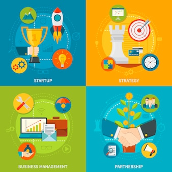 Concept de design de l'entrepreneuriat 2x2