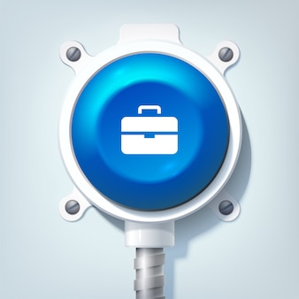 Concept de design d'entreprise avec icône porte-documents et bouton rond bleu sur poteau métallique isolé