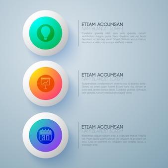 Concept de design d'entreprise avec trois boutons ronds futuristes et pictogrammes infographiques avec paragraphes de texte de description
