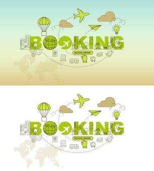Concept de design de fond de bannière de réservation