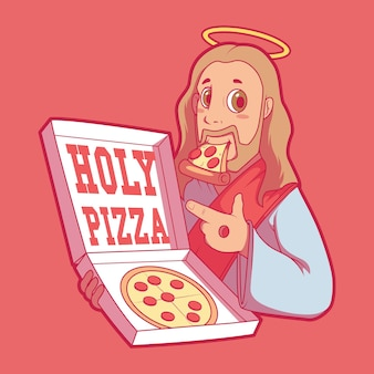 Concept de design illustration holy pizza