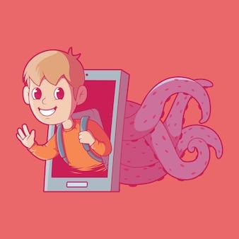 Concept de design d'illustration de prédateur en ligne