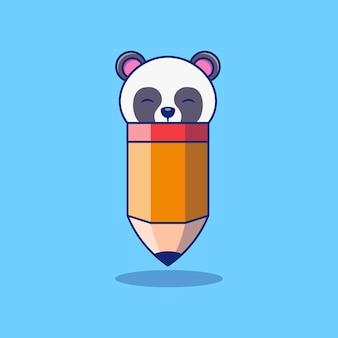 Concept de design d'illustration vectorielle crayon premium avec panda mignon