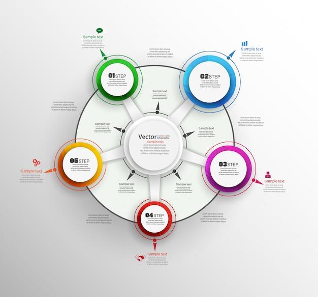 Concept de design infographie avec étapes