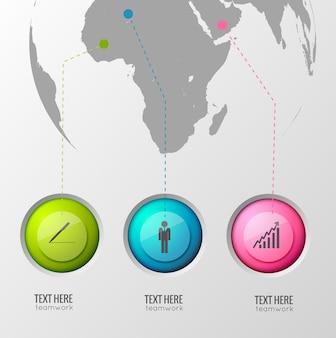 Concept de design infographique d'entreprise avec trois boutons de cercle brillant et des lignes pointent des emplacements sur l'illustration du globe terrestre