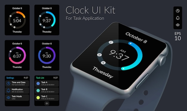 Concept de design d'interface utilisateur avec collection d'horloge et éléments web pour illustration d'application de tâche