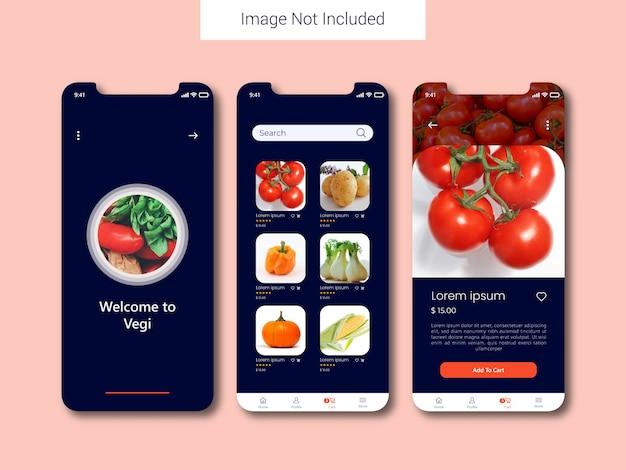 Concept de design interface utilisateur mobile légumes