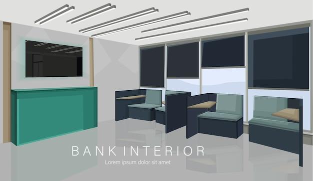 Concept de design d'intérieur de banque avec des couleurs vertes. chaises d'attente