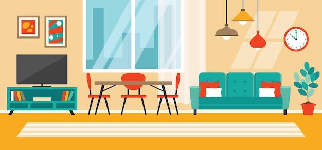 Concept de design d'intérieur avec des meubles plats