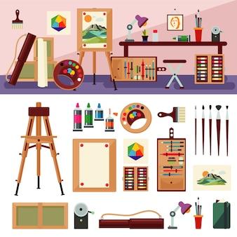 Concept de design d'intérieur de studio d'art