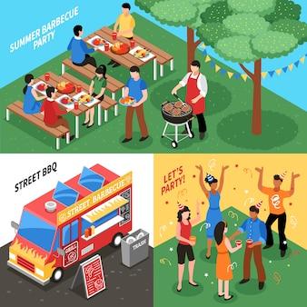Concept de design isométrique de barbecue