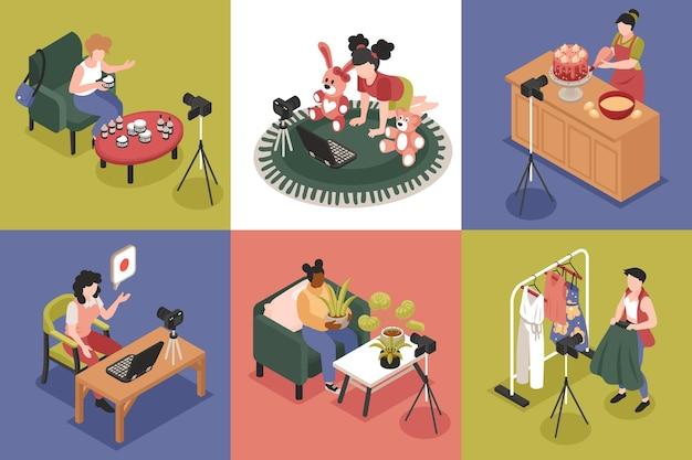 Concept de design isométrique de blogueur avec des symboles de blog d'enfant et de mode illustration isolée carrée