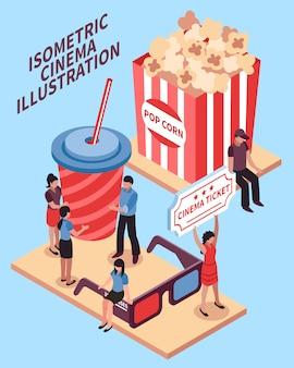 Concept de design isométrique de cinéma