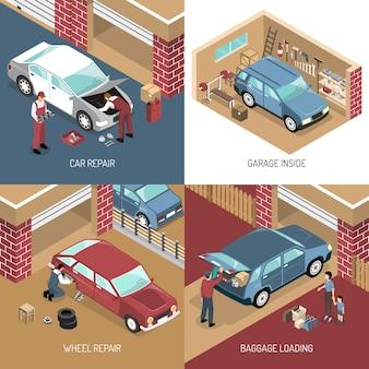Concept de design isométrique de garage