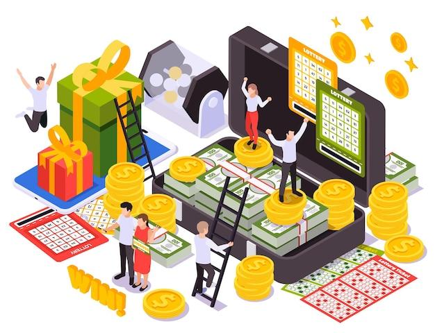 Concept de design isométrique de loterie avec cartes instantanées à gratter billets de loterie coffrets cadeaux tambour rotatif