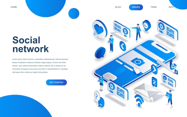 Concept de design isométrique moderne du réseau social