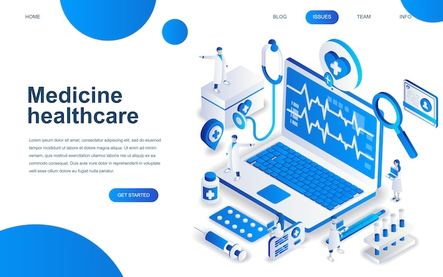 Concept de design isométrique moderne de la médecine en ligne