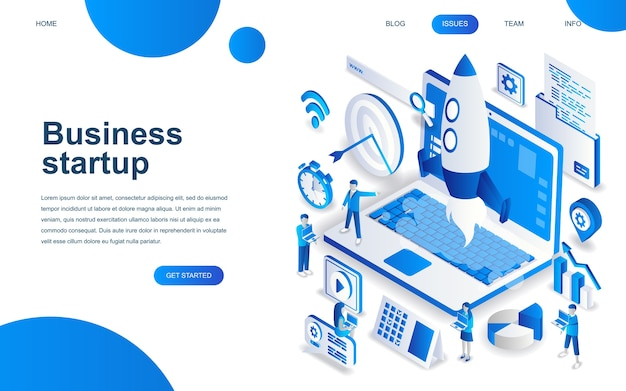 Concept de design isométrique moderne de startup your project