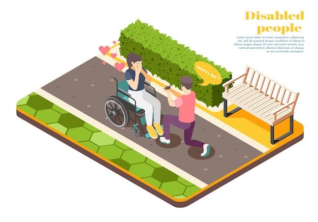 Concept de design isométrique de personnes handicapées avec un jeune homme proposant une illustration de fille en fauteuil roulant