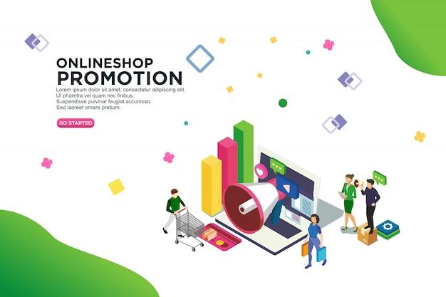 Concept de design isométrique de la promotion de l'onlineshop