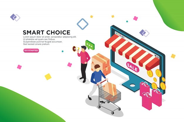 Concept de design isométrique smart choice